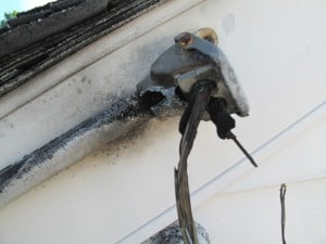 This electrical service cable was damaged due to age and burned