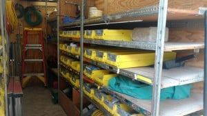 Stocked truck for service